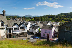 Hawkshead village Lake District England uk on a beautiful sunny summer day popular tourist village Stock Image