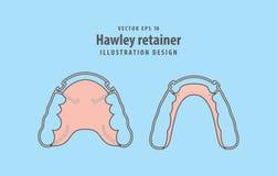 Hawley retainer illustration vector on blue background. Dental c. Oncept royalty free illustration