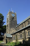 Haworth Church. View of the tower and sections of the parish church in Haworth, Yorkshire, where Patrick Brontë was curate. Image shows evidence of earlier Royalty Free Stock Photos