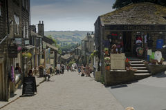 Haworth Main Street. General view of Haworth main street, home of the Bronte sisters, in West Yorkshire, England Stock Photography