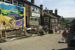 Haworth Main Street. Showing a poster welcoming the route of the Tour de France 2014 Stock Image