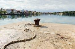 Hawser and Bollard. In harbor of Zadar, Croatia Stock Images