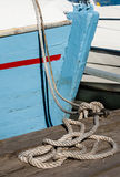 Boat with hawser Royalty Free Stock Photo