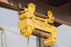 Hawser of crane winch on reel. Closeup Stock Image