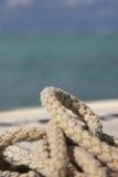 Hawser noose. Used nautical rope noose close-up Royalty Free Stock Image