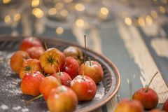 Hawthorn. Berries in the bowl on wood background Stock Photography