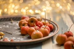Hawthorn. Berries in the bowl on wood background Royalty Free Stock Images