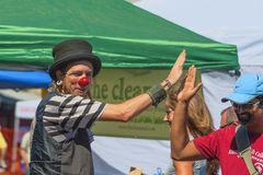 Hawthorn Street Fair, Portland, Oregon, Community Annual Event. Portland, Oregon,USA - August 17,2014:  Hawthorn Street annual Community Event.  A clown high Stock Image
