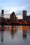 Hawthorne bridge and buildings at dusk. Stock Images