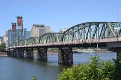 The Hawthorne Bridge in Portland, Oregon. This is the Hawthorne Bridge crossing the Willamette River in Portland, Oregon Stock Photo