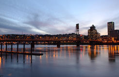 The Hawthorne bridge at dusk, Portland Oregon. Royalty Free Stock Photography