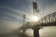 The Hawthorne Bridge with fog. Royalty Free Stock Photos