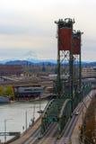 Hawthorne Bridge and Mount Hood View. Hawthorne Bridge over Willamette River and Mount Hood view from downtown Portland Oregon stock photos