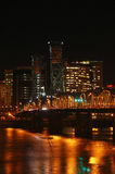 Hawthorne bridge at night. The Hawthorne bridge and traffic at night Royalty Free Stock Photos