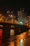 Hawthorne bridge at night. Night scene Portland bridges & buildings Stock Image