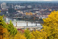 Hawthorne Bridge over Willamette River in Fall Portland OR USA Stock Image