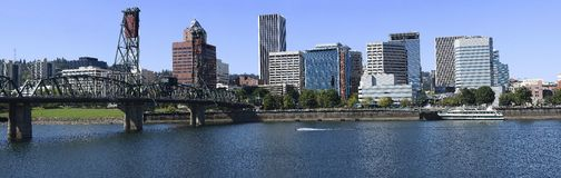 Hawthorne Bridge and Panorama. The East side of the bridge and a panoramic skyline of Portland OR Royalty Free Stock Photo