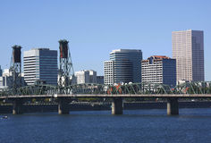 Hawthorne bridge Portland OR. The Hawthorne bridge and the downtown buildings to the east Stock Photos