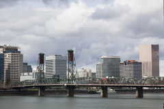Hawthorne Bridge with Downtown Portland in the Background Royalty Free Stock Photography