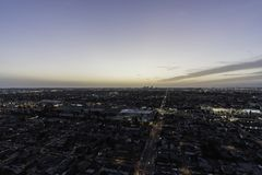 Hawthorne California Dusk Aerial Fotografie Stock