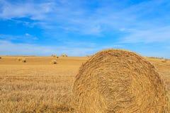 Hay стог в поле на солнечный день Стоковая Фотография