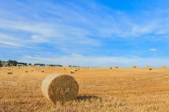 Hay стог в поле на солнечный день Стоковая Фотография RF