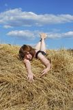 Hay. Stack and young woman on distant plan Stock Photography