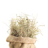 Hay. Sac Of Hay Isolated On White Stock Image