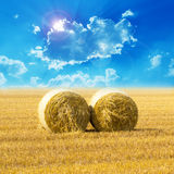 Hay bail  field and Sunset Stock Photography