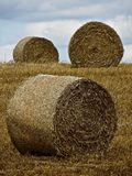 Hay Bails. Three bundles of hey in a field in Normandy France. The circular bails stand in the field in different places at different angles stock photo