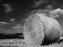 Hay Bale. Shot in black and white royalty free stock photography