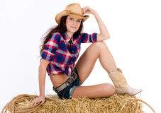 Hay Bale Break Western Woman Plaid Royalty Free Stock Photo