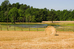 Hay bale in countryside field Royalty Free Stock Photos
