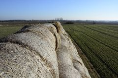 Hay bale in the countryside. In green field Stock Photos