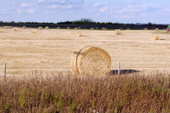 Hay bale with cross. Hay bale with shadow of cross Royalty Free Stock Images