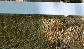 Hay bale and fence Stock Photo