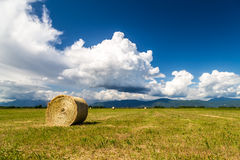 Hay bale in the fields of italy. Storm is coming on a field with hay bales stock photography