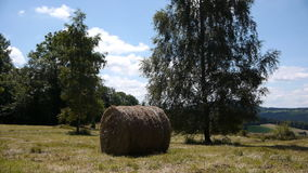 Hay bale in French landscape stock video footage