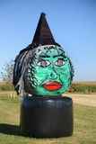 Hay Bale Halloween Witch Stock Photography