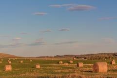 Hay Bale Landscape caldo Immagini Stock
