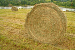 Hay bale and pond. Upstate rural New York Stock Images