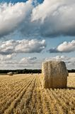 Hay bale roll on field with clouds Stock Images