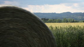 Hay bale rolling through the scene from left to right stock video footage