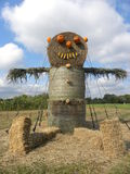 Hay bale scarecrow. On a beautiful autumn afternoon Stock Photography