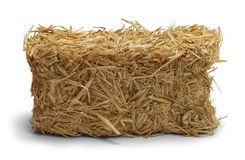 Hay. Bale Side View Isolated on White Background Royalty Free Stock Photos