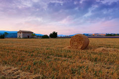 Hay bale at sunrise the Provence region. In France Royalty Free Stock Image