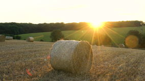 Hay bale at sunset stock footage