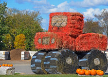 Hay bale tractor Royalty Free Stock Images