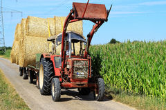 Hay bale transport countryside Royalty Free Stock Photo