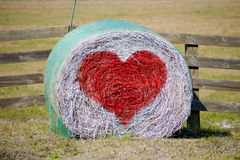 Hay Bale Valentine. Country Hale Bale Heart Valentine stock photography